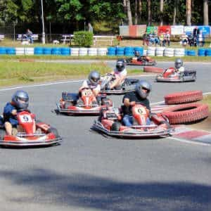 a go-kart track without many bumpers