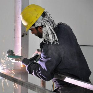 construction welder at work